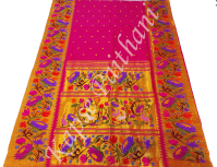 Brocade Flower Rich Border With Swan Pallu